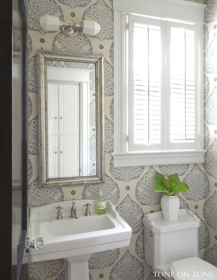 Tone on Tone: Powder Room Renovation. Galbraith and Paul Lotus wallpaper