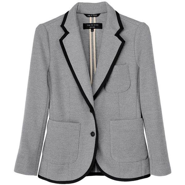 Bromley Blazer ($210) ❤ liked on Polyvore featuring outerwear, jackets, blazers, tops, grey blazers, blazer jacket, gray jacket, gray blazer and grey blazer jacket