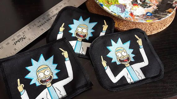Peace among worlds Rick and Morty hand painted patch ! They're available on Etsy, get Schwifty!