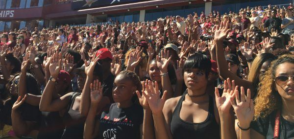 FSU students sit in protest during national anthem at UNC game