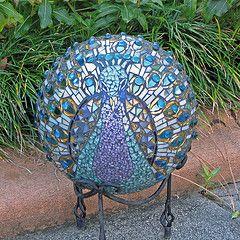 mosaic bowling balls | Peacock ball (Lyons' Mosaics and More) Tags: art glass garden mosaic ...