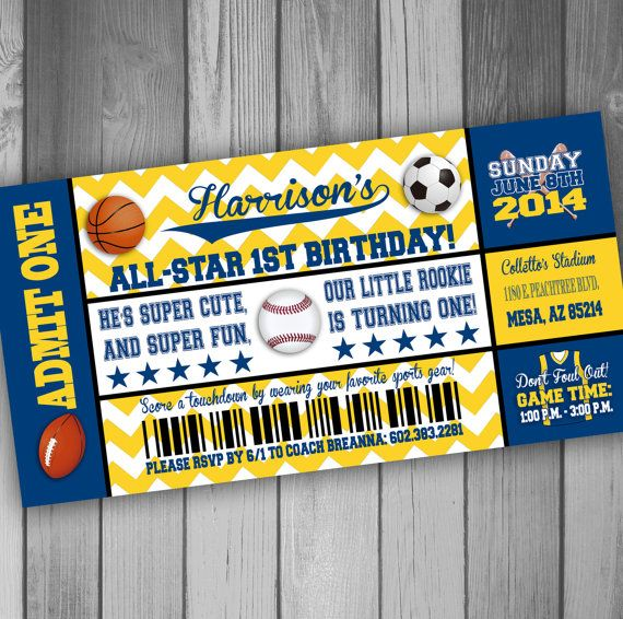 133 best Boys Party Ideas images – Sport Birthday Invitations