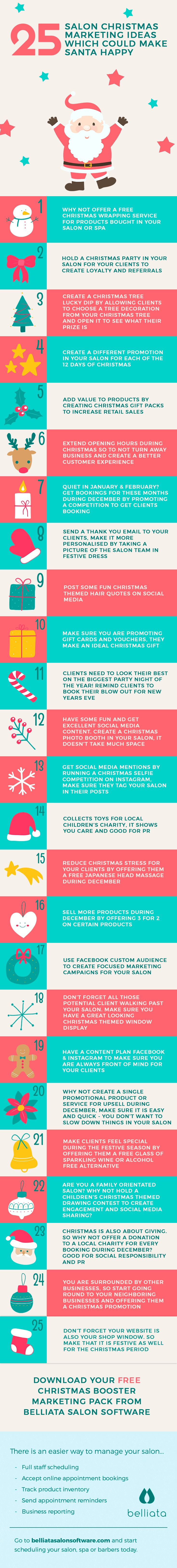 Looking for some great promotion and marketing ideas this Christmas for your salon or spa?  @getbelliata have put together 25 easy ideas to give you inspiration for your business.