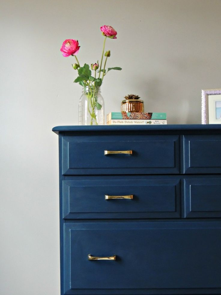 """Awesome paint transformation of a dresser. She used Velvet Finishes paint in the color """"Handsome"""".  Fantastic tutorial."""