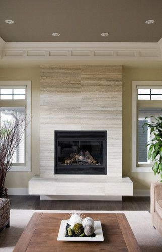 Contemporary Fireplaces For Luxury Living Rooms: Limestone Fireplace Tile. Houzz.
