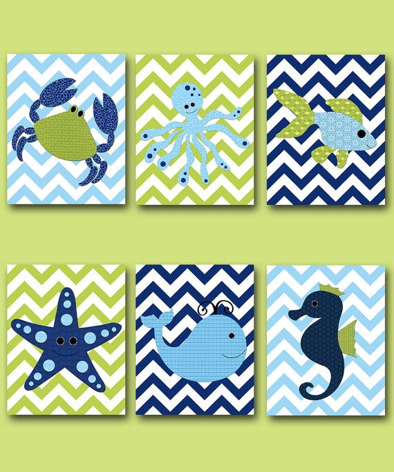Fish Crab Baby Boy Nursery Art Nursery wall art by artbynataera