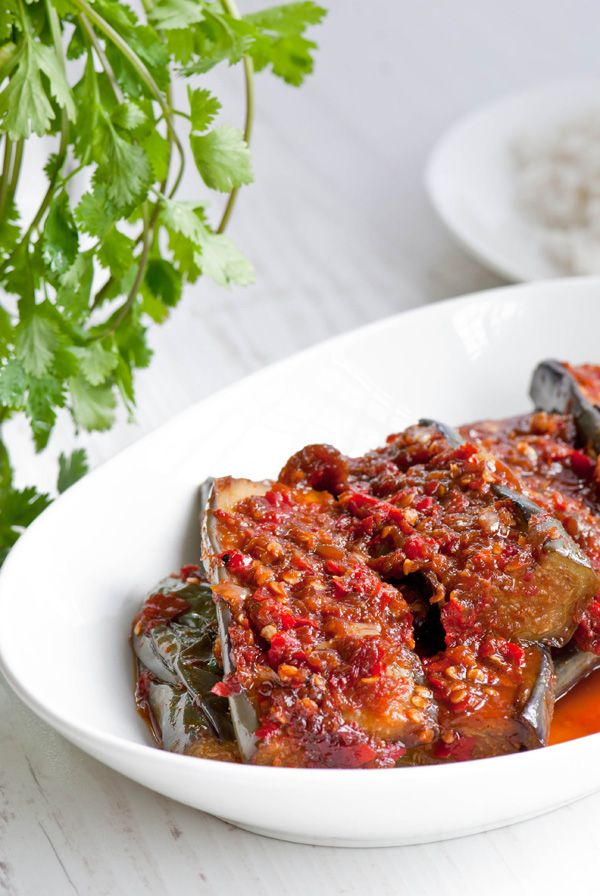 eggplant with chili, sambal terong (red chilies, shallots, garlic, tamarind pulp, eggplants)