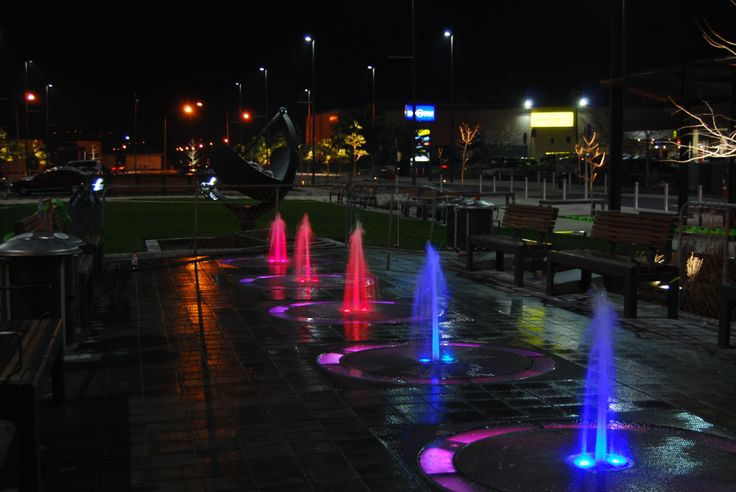 Sundial Square, Richmond, NZ, independently controlled lighting and fountain animation