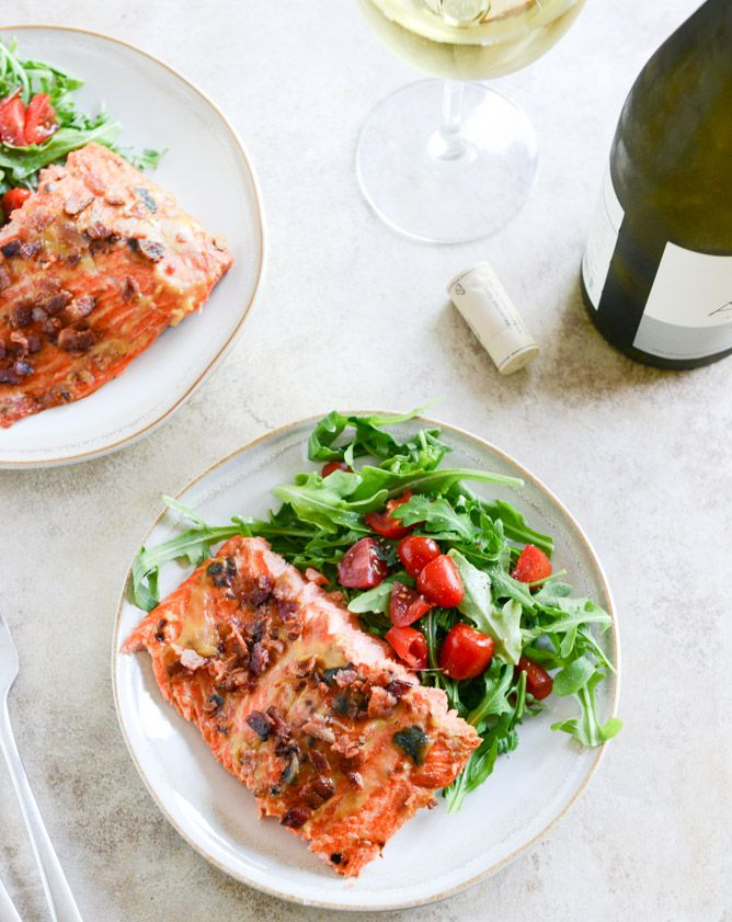 easy grilled maple dijon salmon… with bacon.