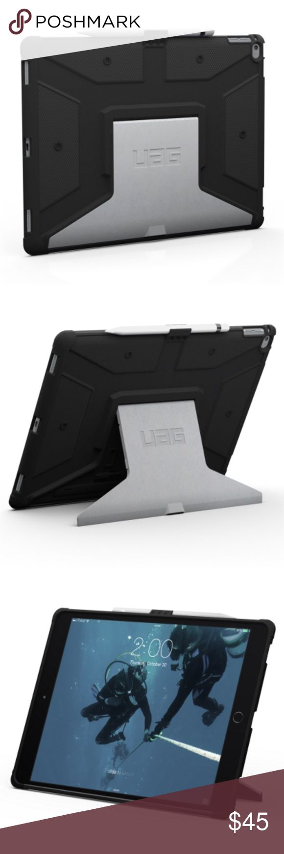 UAG IPad Pro Case UAG iPad Pro Case / Never Used / MSRP: $79.95  Urban Armor Gear iPad Pro Case Features: Impact-resistant soft core & Frogskin exterior non-slip grip Aluminum stand with 5 angular positions and portrait viewing mode Uncompromised audio and full access to touchscreen, buttons and ports Built-in Apple Pencil holder Compatible with Apple Smart Keyboard and Smart Cover Meets military drop-test standards (MIL STD 810G-516.6) when used with Apple Smart Keyboard or Smart Cover…