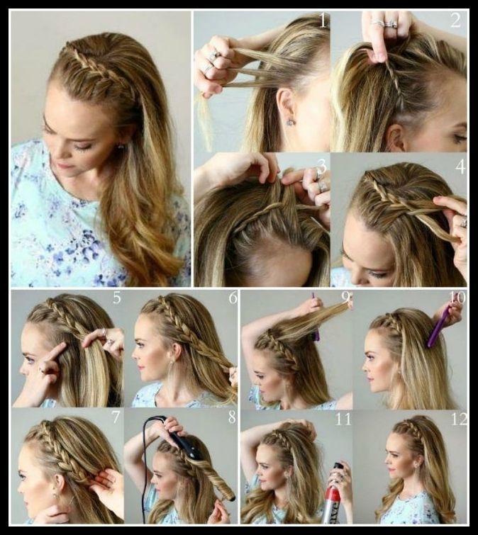 Abendfrisuren Selber Machen Lange Haare Halboffen Zopf Frisuren Frisuren Frauen Abendfrisuren Evening Hairstyles Long Hair Styles Easy Hairstyles