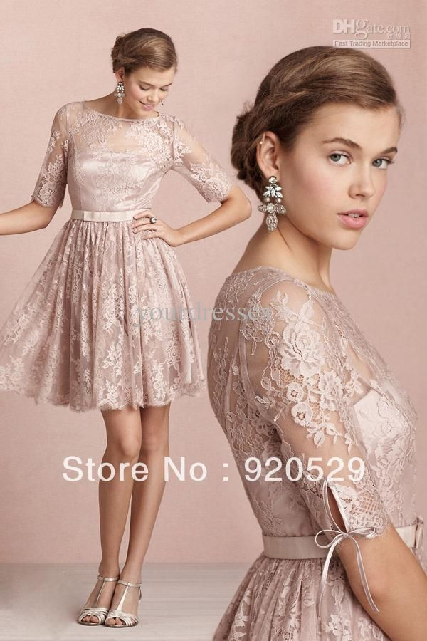 Wholesale - Vintage Modest Champagne Lace Half Sleeves Knee Length Cheap Bridesmaid Dress Satin Cheap Dresses