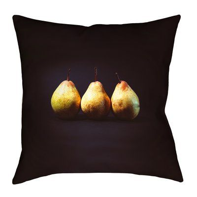 """East Urban Home Pears Double Sided Print Square Pillow Cover Size: 14"""" x 14"""""""