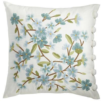 Spring Meadow Embellished Floral Bloom Pillow