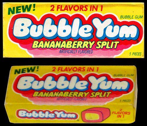 Bubble Yum - Bananaberry Split - bubble gum pack - 1980's