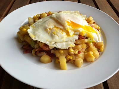Bacon Corn Hash with Fried Eggs via A Taste of Home Cooking Good for ...