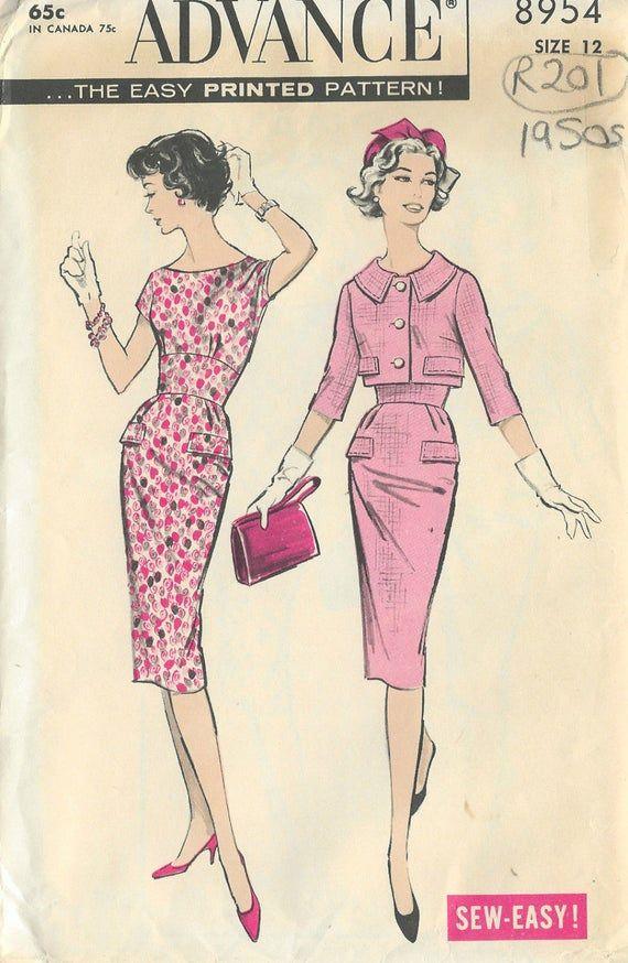 1950s Vintage Sewing Pattern B32 Dress Jacket R201 Etsy Vintage Dress Patterns Vintage Sewing Sewing Patterns