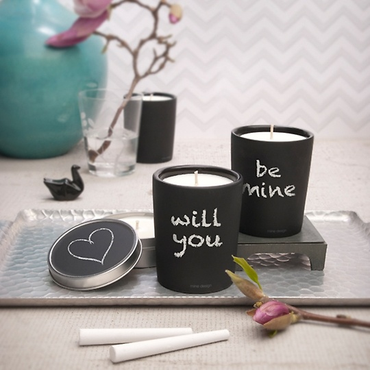 """This candle says """"won't you be mine,"""" or """"7 p.m. Meet me at The Bistro."""" - Chalkboard Candle"""