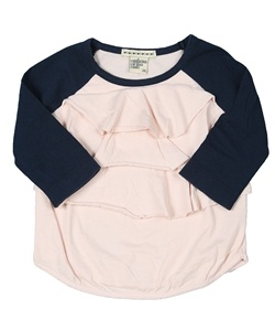 Navy and pink ruffle front baseball tee! Cute with jeans or leggings! Great tee for school or for hanging out with friends!