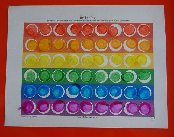 Rainbow do-a-dot worksheet {free printable}