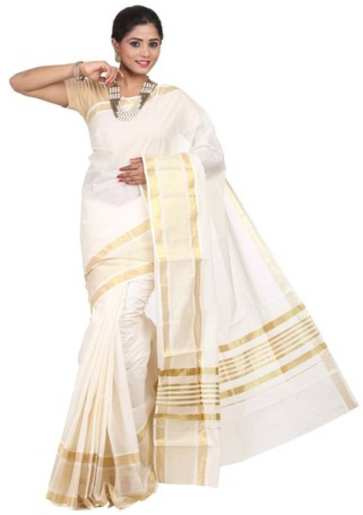Get Cream woven cotton saree with blouse at Best rates available at Mirraw