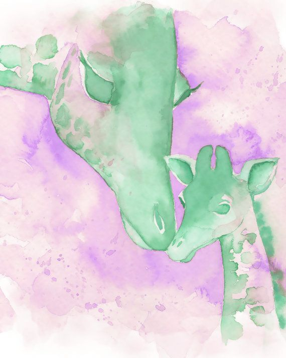 Lavender and Mint Print Mom and Baby by PinkPoppyWatercolors, $24.00