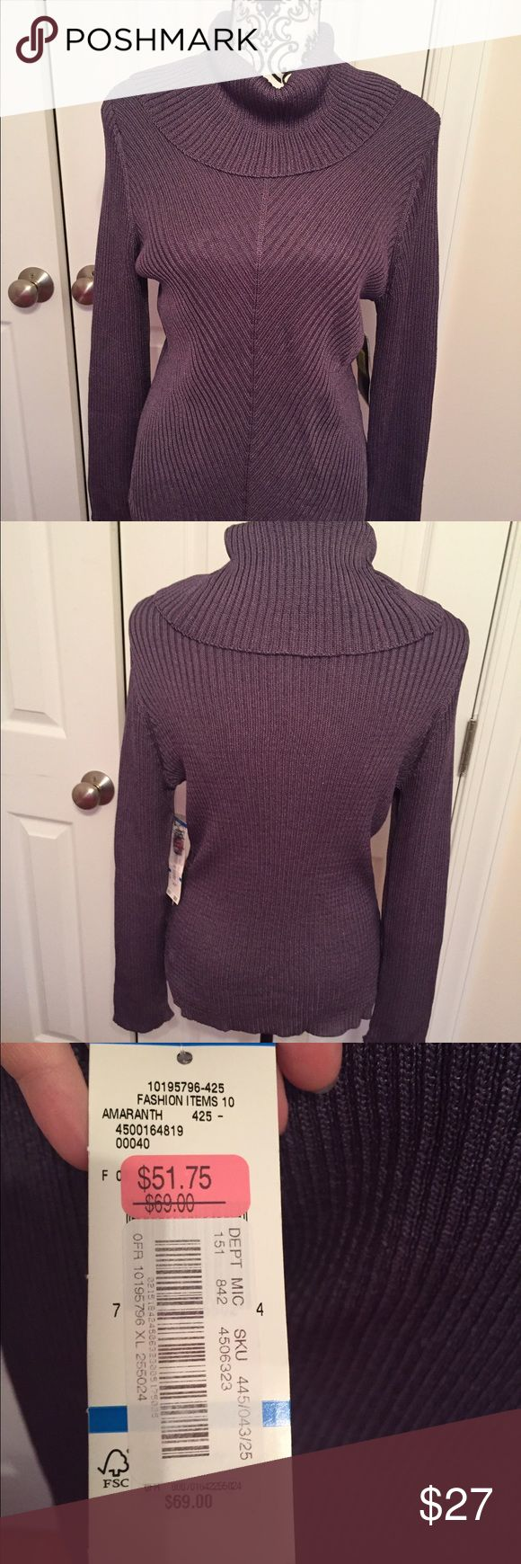 Jones New York Purple Turtle/Cowl Neck Sweater Jones New York Purple turtle neck/ cowl neck sweater NWT $69 regular price 60% Rayon 40% Nylon Very soft Measures 24 inches from the shoulder seam to bottom of Sweater Jones New York Sweaters Cowl & Turtlenecks