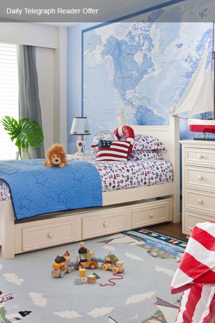 World Map Wall Mural, Nautical Kid's Room Decor