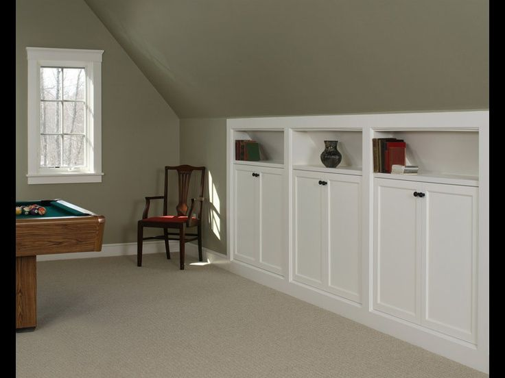 Kneewall storage built-ins - great for over garage bonus room. Love these for an attic conversion or loft.