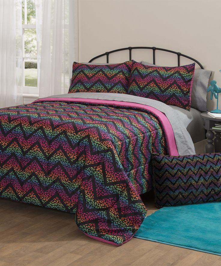 Pink & Blue Ombré Chevron Comforter Set