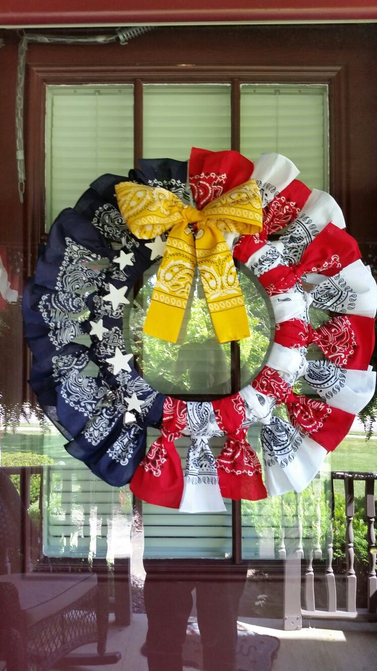 Flag bandana wreath  with yellow ribbon for deployed family member