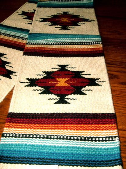 "Table Runner Handwoven Wool 10x80"" Southwestern Native American Design #2C 