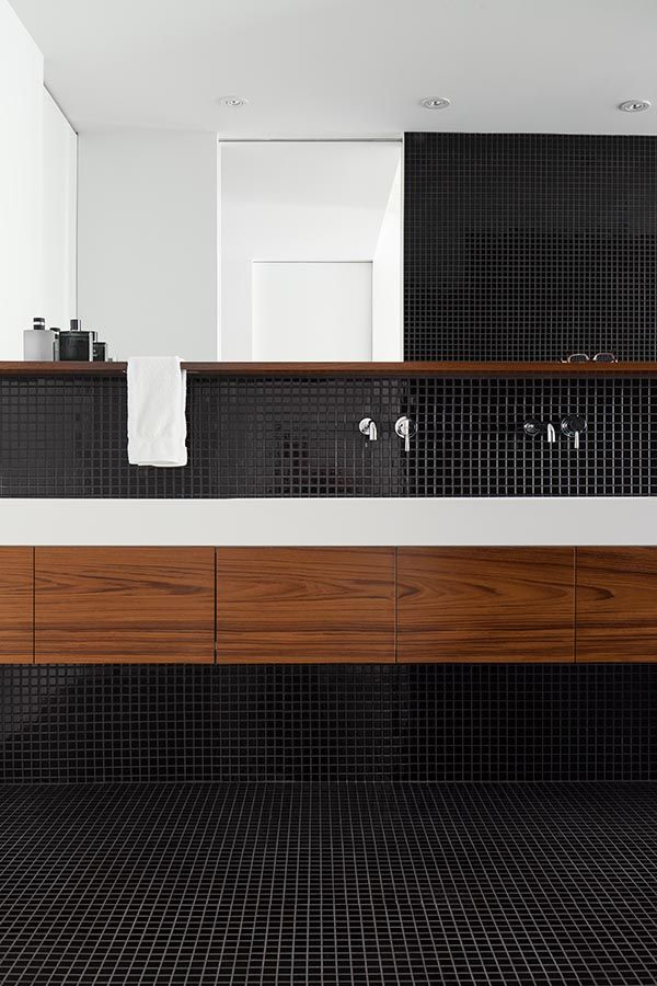 la SHED | Chabot; bathroom, black mosaic tile with white and timber
