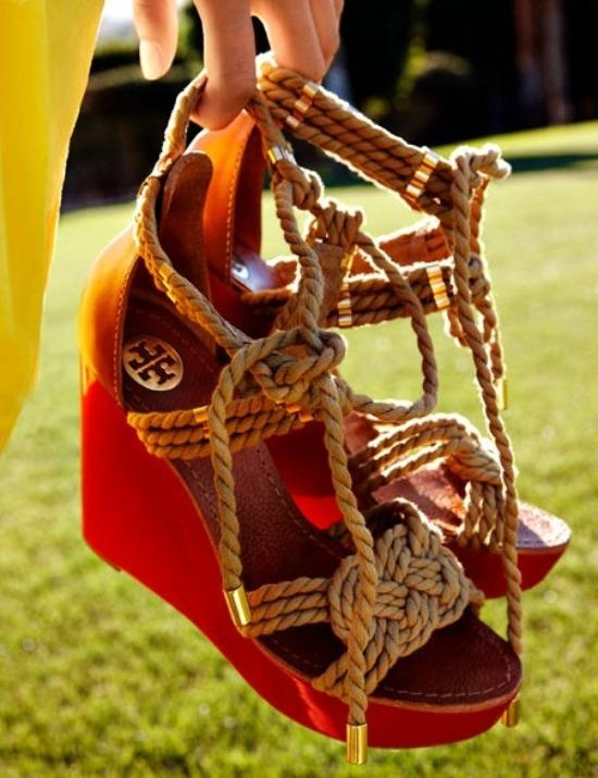 tori burch - red rope sandals with heels