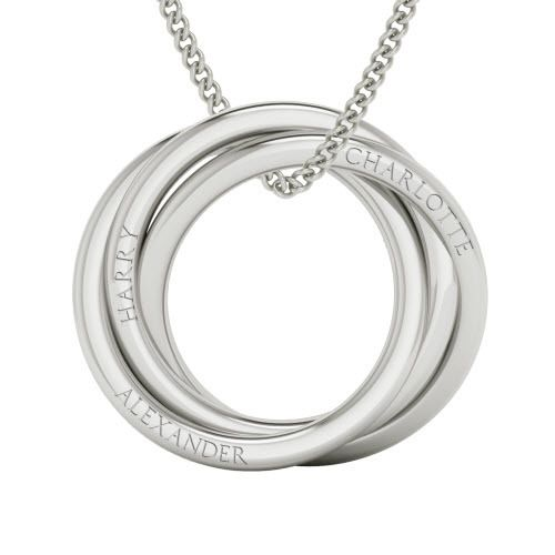 Engraved necklace of Russian rings - stylerocks
