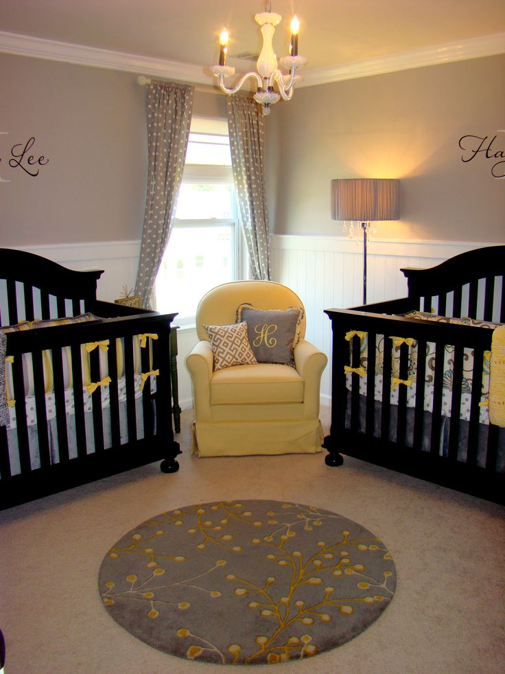 "So cute for twins!! everybody keeps saying ""what if you have twins?"" my answer from now on will be "" their room will be amazing!"" lol - love the chair between the two cribs."