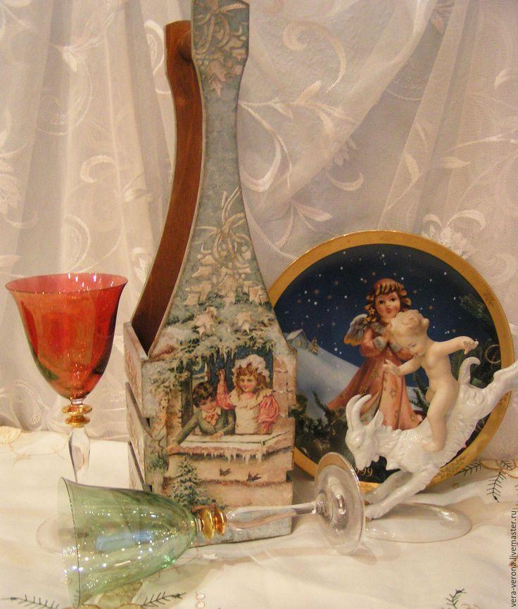 """Купить Короб для вина или шампанского """" Ретро открытки """" - комбинированный, голубой цвет"""