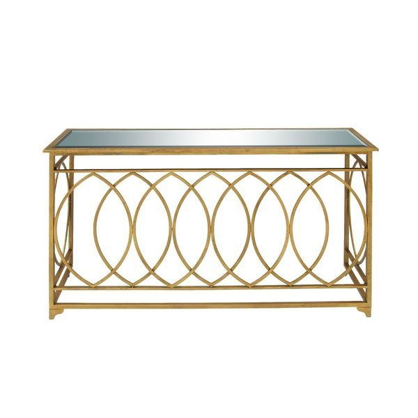 Metal Mirror Gold Console Table (54 inches wide x 32 inches high)