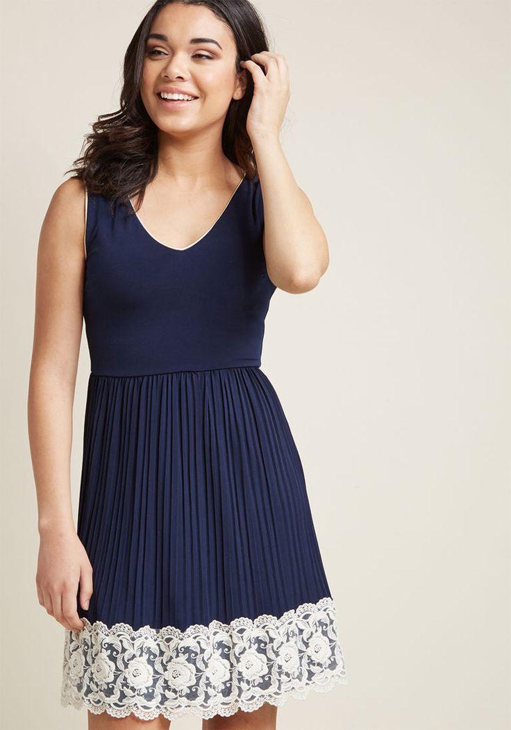 Personal Essayist A-Line Dress in Navy in 1X - Sleeveless Knee Length