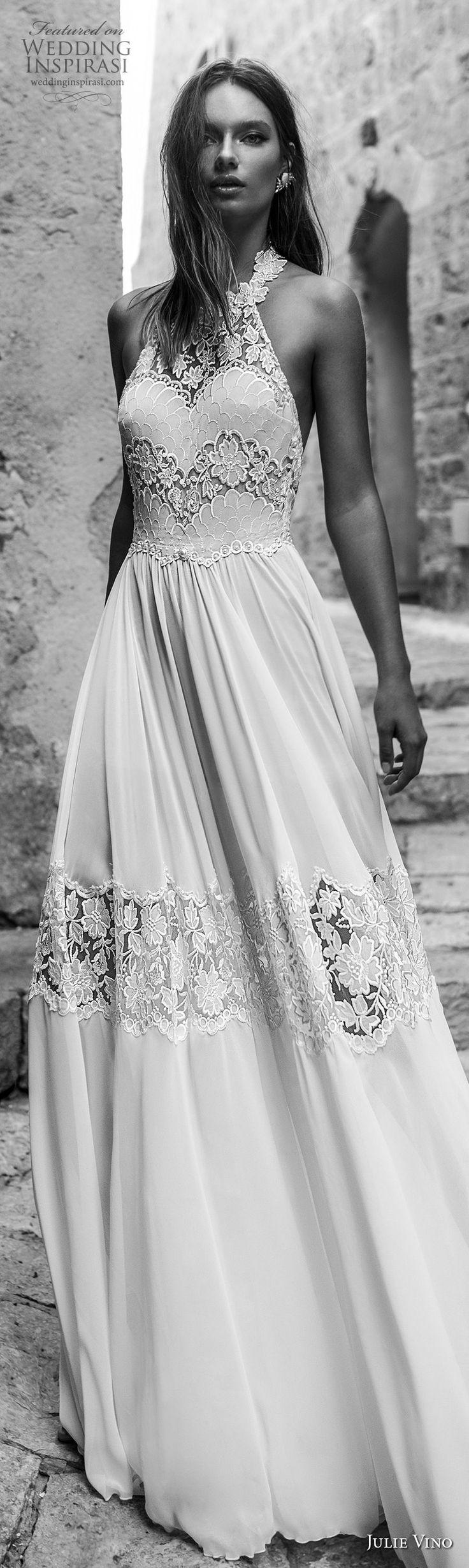 julie vino 2018 bridal sleeveless illusion halter sweetheart neck heavily embellished bodice roamtic soft a  line wedding dress open back chapel train (53) lv -- Romanzo by Julie Vino 2018 Wedding Dresses