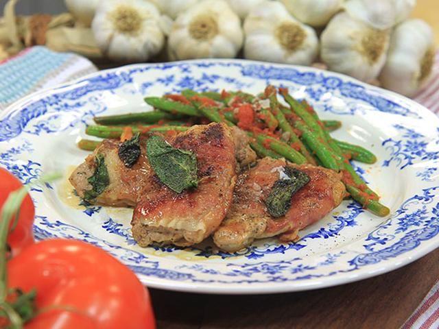 Saltimbocca med salvia och gröna bönor