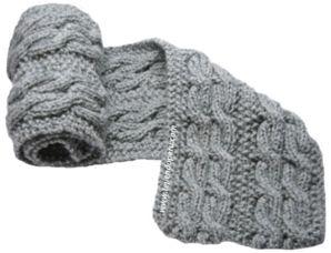 Cómo tejer una bufanda con trenzas reversibles en dos agujas o palitos para caballeros