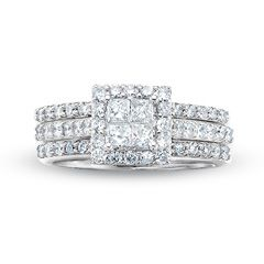 2 CT. T.W. Quad Princess-Cut Diamond Framed Three Piece Bridal Set in 14K White Gold