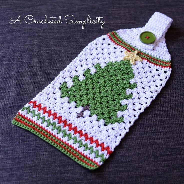 Free Crochet Pattern - Retro Christmas Tree Towel - A Crocheted Simplicity