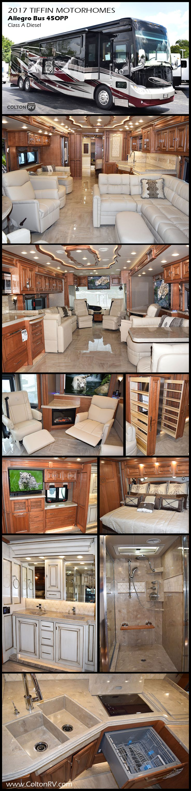 The luxurious Tiffin Motorhomes ALLEGRO BUS 45OPP Class A Diesel Coach is the preferred home sweet motorhome for full-time RVers. Built on Tiffin's acclaimed PowerGlide chassis, this bus delivers elbow room to spare, with 7' foot ceilings, four slide outs, plus 175cubic feet of basement storage! You will love the look of the fine craftsmanship in every square inch of this coach, from the hand-laid porcelain tile floor to the handcrafted cabinetry. A truly gorgeous RV!