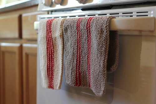 Knit cotton dish towels in vintage like stripes