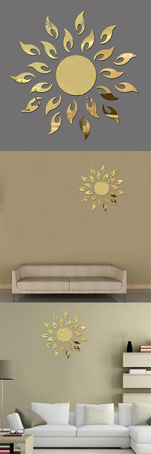 TIFENNY Luxury 3D Sunflower Home Decor Bell Cool Mirrors Wall Stickers Gold 3D Mirror Wall Stickers Living Room Entrance Bedroom TV Wall Decals Marriage Room Decorated (Gold)