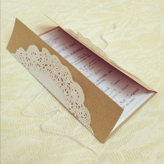 lace Wedding invitation DIY with instructions. Love the simplicity of the brown paper bag look with the sweet touch of lace!