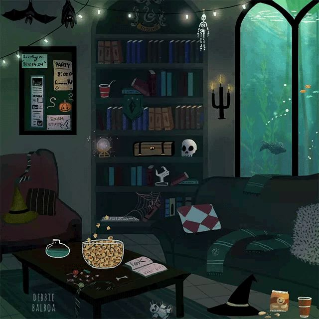Slytherin common room. Halloween.