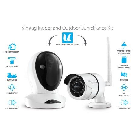 Vimtag Camera Kit - P1 Indoor Cam, B1 Outdoor Cam, , Wifi Security Solution, White
